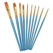 Xubox Pointed-Round Paint brushes Set, 10 Pieces Round Pointed Tip Nylon Hair Brush Set Blue