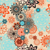 Floral Pattern in Orange, Brown, and Aqua Printed Heat Transfer Vinyl 30cm x 30cm with TTD Mask