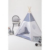 Blue stripe Play Teepee 100% Cotton Canvas Portable Indoor Tent for Boy and Girls children playhouse with mat