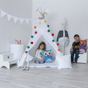 pure white hot selling kids Play Teepee 100% Cotton Canvas Portable Indoor Tent teepee