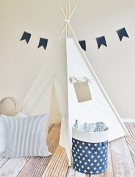 pure white four poles kids Play Teepee 100% Cotton Canvas Portable Indoor Tent for Boy and Girls children playhouse