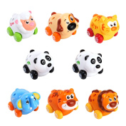 Huile Push and Go Toy Friction Powered Cartoon Animals Toy Cars Play Set for Baby Toddlers