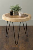East at Main TT-OR-NTR510 Larkin Brown Teakwood Round Accent Table,