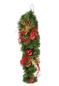 80cm Pre-Decorated Red and Gold Artificial Christmas Teardrop Swag - Unlit