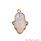 White Opal Hamsa Shape Bezel Pendant, 20x15mm Gold Electroplated Gemstone Necklace Chain Pendant