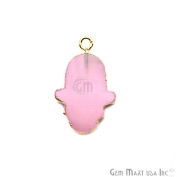 Rose Chalcedony Hamsa Shape Bezel Pendant, 20x15mm Gold Electroplated Gemstone Necklace Chain Pendant