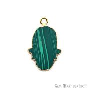 Malachite Hamsa Shape Bezel Pendant, 20x15mm Gold Electroplated Gemstone Necklace Chain Pendant