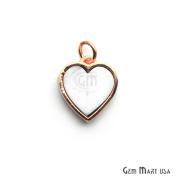 Howlite Heart Pendant, 12mm Gold Plated Gemstone Love Pendant, Chain Pendant 1pc