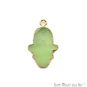 Green Chalcedony Hamsa Shape Bezel Pendant, 20x15mm Gold Electroplated Gemstone Necklace Chain Pendant