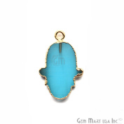 Light Blue Chalcedony Hamsa Shape Bezel Pendant, 20x15mm Gold Electroplated Gemstone Necklace Chain Pendant