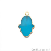 Petite Blue Chalcedony Hamsa Shape Bezel Pendant, 20x15mm Gold Electroplated Gemstone Necklace Chain Pendant