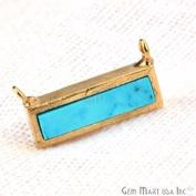 Turquoise Bar Necklace Pendant, 15x7mm Rectangle Shape 24k Gold Plated Gemstone Bar Pendant