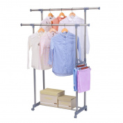 Excelvan XR-104S Double-Rail Adjustable Rolling Clothing Garment Rack with Side Rods, Swing Arm Holders and Wheels