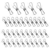 Outus 35 Pieces Stainless Steel Laundry Clothes Pegs Clothes Pins Clips, 3 Sizes