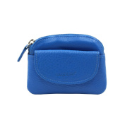 SADDLER Womens Leather Zip Top Coins Key Purse Front Flap Pocket - Electric Blue