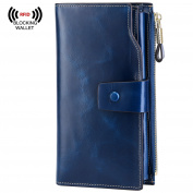 S-ZONE Women Luxury Wax Genuine Leather Wallet Large Capacity with Zipper Pocket