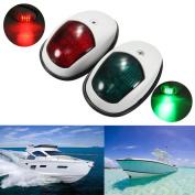 Boat Navigation Lights,Vingtank New Marine LED Navigation Lamp Port Bow Side & Starboard Lights [ Red & Green LED ] for Chandlery Boat Yacht Skeeter Safety Lights Deck Mount DC 12V - 24V