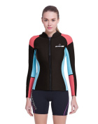DIVE & SAIL Women's 3/2 mm Wetsuits Jacket Long Sleeve Neoprene Wetsuit Top