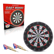 Premium Quality 46cm Champion Tournament Dart Board By BriteNway – Made Of Wood & Metal – Double-Sided Flocking Dartboard – Sturdy & Durable Construction - Ideal For Beginners' Training & Practise