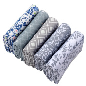 Shuan Shuo 5PCS Grey Series Floral Cotton Fabric For Sewing DIY Patchwork Fabric 40X50CM