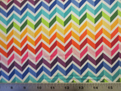 Colorworks Concepts Colourful Ziz Zag White Northcott Cotton Fabric 20802-10