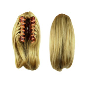 USIX 25cm Claw Ponytail Handy Jaw Pony Tail Clip in Straight Hair Extension Nature Looking Heat-Resisting Ponytail Extension