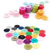 100 Pieces Assorted Colourful Resin Buttons for Sewing and for DIY Ornament