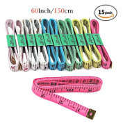 Honbay 15PCS 60Inch/150cm Tape Measures Soft Cloth Measuring Tape Weight Loss Medical Body Measurement Sewing Tailor Craft Plastic Ruler