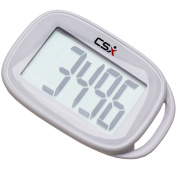 CSX Simple Walking 3D Pedometer with Lanyard, P301S, White