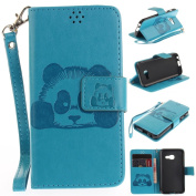 For Samsung Galaxy A3 (2017 Model) Case [with Free Screen Protector], Qimmortal(TM) 3D Emboss Panda PU Leather With Kickstand Card Cash Packet Magnetic Flip Book Wallet Cover For Samsung Galaxy A3 (2017 Model)