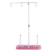 Awakingdemi Thread Stand,Embroidery Thread Spool Holder,Pink Sewing Thread Stand Adjustable 3 Thread Spools Plastic Holder