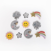 Felt Glitter Sun Moon Star Rainbow Cloud Patch Applique 10 Pcs For DIY Hair Bow Hair Clip Accessories Party Home Decoration Supply