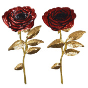Monique Rose Sequins Embroidery Cloth Patches Appliques Decal Stickers Iron-on Clothes Bags Pack of 2