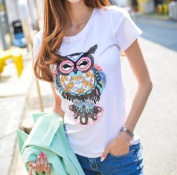 EatingBitiing(R)31CM Large Sequins Owl Cloth Applique Patch Clothing Embroidery Sewing Craft