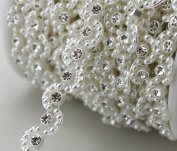 AEAOA 8mm Ivory Moon Pearl And Rhinestone Chain Sewing Trims Cake Decoration LZ121