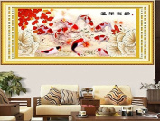 DIY 3D Embroidery Kit Precise Printed Nine Fishes Needlework Cross stitch