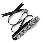 SWEETV Elegant Crystal Rhinestone Belt Bridal Sash Belt Wedding Dress Accessories, Royal Blue