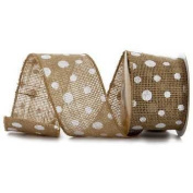 Burlap Polka Dot Ribbon with White Dots 6.4cm - 3 Yards Wired