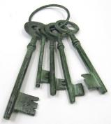 LARGE Set of Gaoler Steampunk Skeleton Keys in Aluminium w/ Green Patina Finish