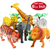 Animal Figure,20cm Jumbo Jungle Animal Toy Set(12 Piece),Yeonhatoys Realistic Wild Vinyl Animal For Kids Toddler,Plastic Animal Party Favours Learning Resource Forest Small Farm Animals Toys Playset