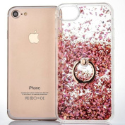 iPhone 7 Case [With Free Tempered Glass Screen Protector],Mo-Beauty® Flowing Liquid Floating Flowing Bling Shiny Sparkle Glitter Crystal Clear Plastic Hard Case Protective Shell Case Cover For Apple iPhone 7