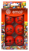 Emoji Unisex 6 Pack Angry Novelty Fun Golf Balls, Multicoloured