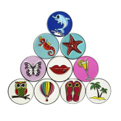 Set of 10 Golf Ball Markers, Various Designs for Selection