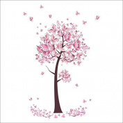 Raylinedo® Pink Butterfly Tree Removable Wall Stickers Window Sticker Art Decals Mural DIY Wallpaper for Room Decal 100*70CM