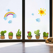 Cactus Plants Clouds Wall Sticker Decal Home Paper PVC Murals House Wallpaper Bedroom Kids Babys Living Room Art Picture Decoration