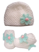 White Hand knitted Baby Booties / Beanie Hat Set With Mint Green / Pink Flower - Newborn 0-3 months