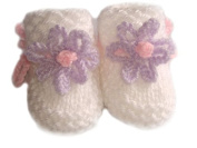 White Hand knitted Baby Booties With Lilac / Pink Flower - Newborn 0-3 months