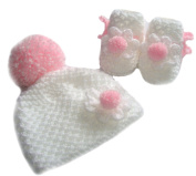 White / Pink Hand knitted Baby Booties / Bobble Pom Pom Hat Set With Flower - Newborn 0-3 months