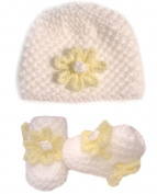 White Hand knitted Baby Booties / Beanie Hat Set With Lemon Flower To The Front - Newborn 0-3 months