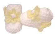 White Hand knitted Baby Booties With Lemon Flower To The Front - Newborn 0-3 months